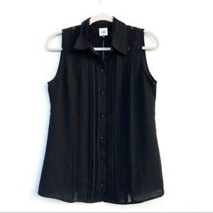 Cabi Black Jagger button down sleeveless blouse
